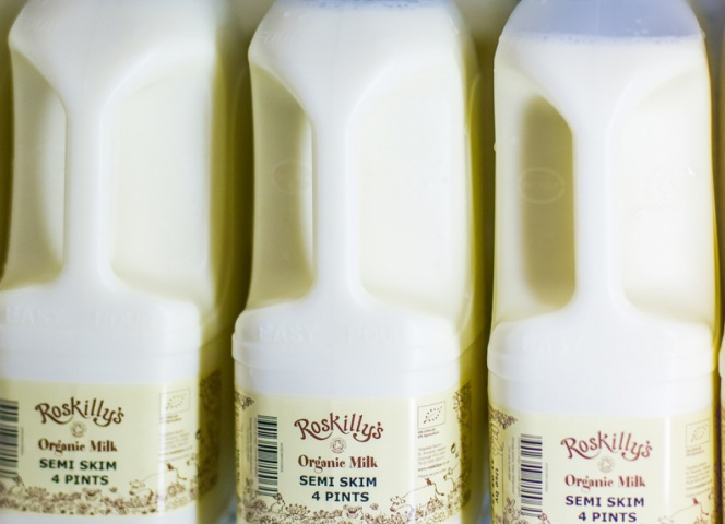 Our organic milk for sale in the shop