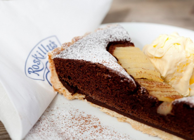 Chocolate and pear tart.