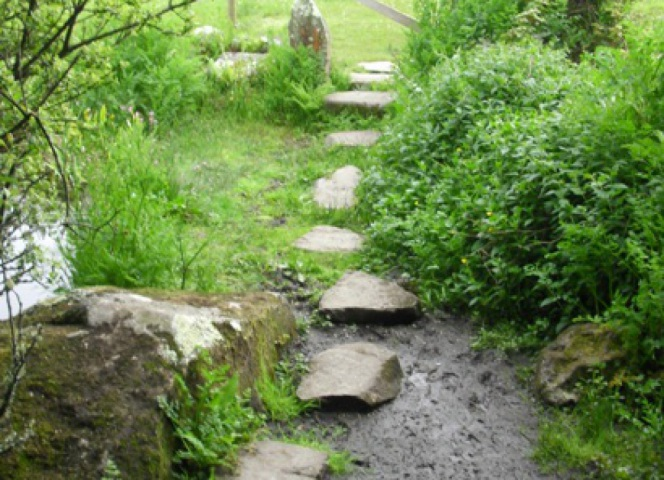 The stepping stones between to two small lower ponds